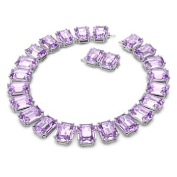 Collar Millenia, Cristales talla octagonal, Morado, Baño de rodio - Swarovski, 5609701