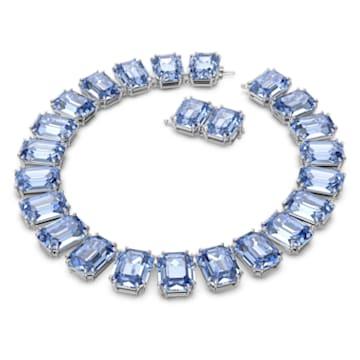 Collier Millenia, Cristaux octogonaux, Bleu, Métal rhodié - Swarovski, 5609703