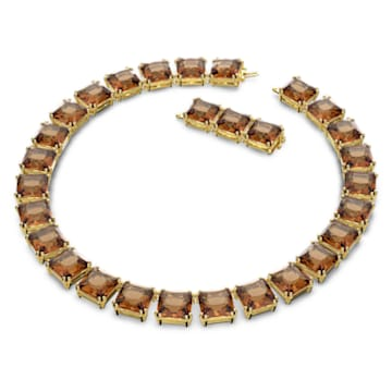 Millenia necklace, Square cut crystals, Yellow, Gold-tone plated - Swarovski, 5609705