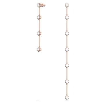 Boucles d'oreilles Constella, Asymétrique, Blanc, Métal doré rose - Swarovski, 5609707