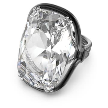 Harmonia ring, Oversized floating crystal, White, Mixed metal finish - Swarovski, 5610344