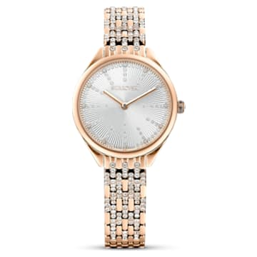 Attract watch, Metal bracelet, White, Rose-gold tone PVD - Swarovski, 5610487