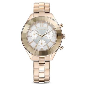Octea Lux Sport watch, Metal bracelet, White, Gold-tone PVD - Swarovski, 5610517