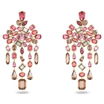 Gema clip earrings, Chandelier, Multicoloured, Gold-tone plated - Swarovski, 5610754