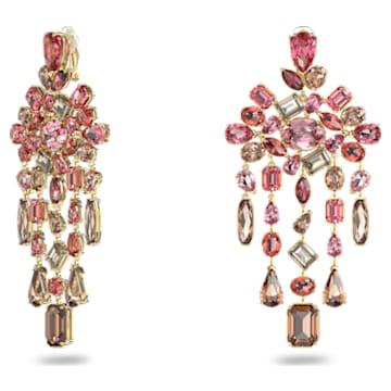 Gema clip earrings, Chandelier, Multicolored, Gold-tone plated - Swarovski, 5610754