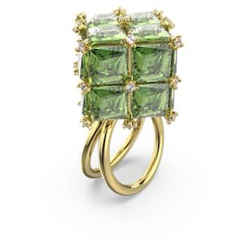 Curiosa cocktail ring, Square, Green, Gold-tone plated - Swarovski, 5610829