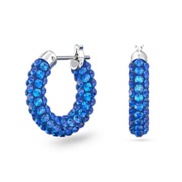 Tigris 大圈耳环, 蓝色, 镀铑 - Swarovski, 5610955