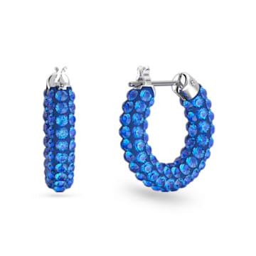 Pendientes de aro Tigris, Azul, Baño de rodio - Swarovski, 5610955
