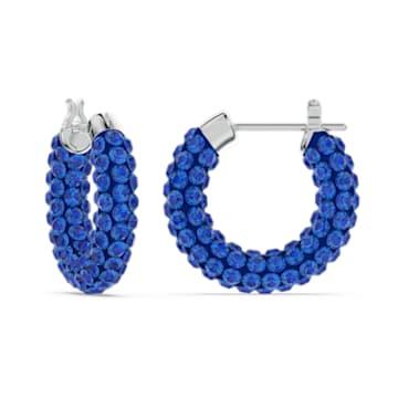 Tigris Creolen, Blau, Rhodiniert - Swarovski, 5610955