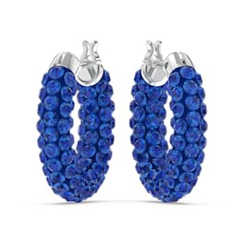 Tigris hoop earrings, Blue, Rhodium plated - Swarovski, 5610955