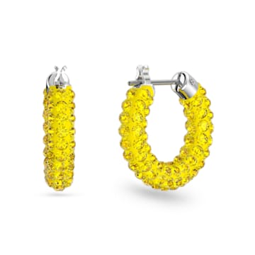 Tigris Серьги-кольца, Желтый кристалл, Родиевое покрытие - Swarovski, 5610958