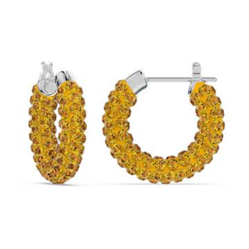 Brincos argola Tigris, Amarelo, Lacado a ródio - Swarovski, 5610958