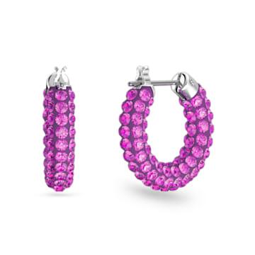 Tigris 大圈耳環, 粉紅色, 鍍白金色 - Swarovski, 5610961