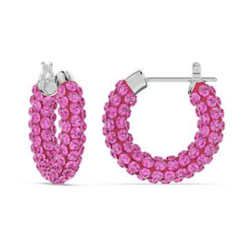 Tigris 大圈耳环, 粉红色, 镀铑 - Swarovski, 5610961
