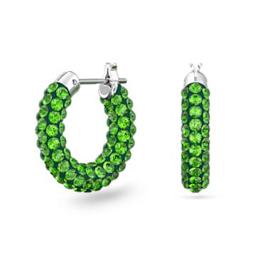 Tigris 大圈耳環, 綠色, 鍍白金色 - Swarovski, 5610962