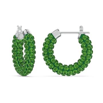 Tigris 大圈耳环, 绿色, 镀铑 - Swarovski, 5610962