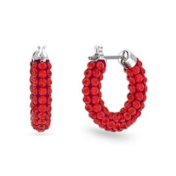 Tigris 大圈耳环, 红色, 镀铑 - Swarovski, 5610963