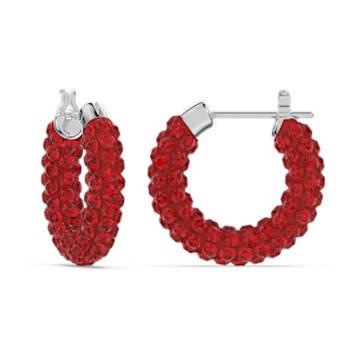 Tigris 大圈耳環, 紅色, 鍍白金色 - Swarovski, 5610963