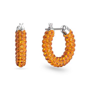 Tigris 大圈耳環, 橙色, 鍍白金色 - Swarovski, 5610986