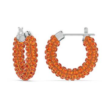 Tigris hoop earrings, Orange, Rhodium plated - Swarovski, 5610986