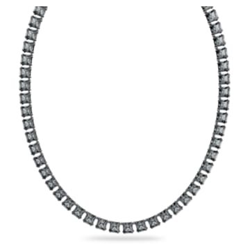 Millenia necklace, Square cut crystals, Gray, Rhodium plated - Swarovski, 5612683