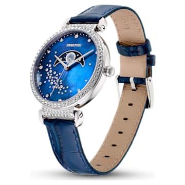 Passage Moon Phase watch, Leather strap, Blue, Stainless steel - Swarovski, 5613320
