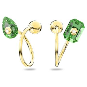Numina 穿孔耳环, 绿色, 镀金色调 - Swarovski, 5613541