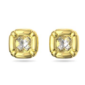 Dulcis 耳钉, 枕形切割仿水晶, 黄色, 镀金色调 - Swarovski, 5613658