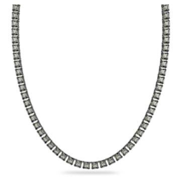 Millenia necklace, Square cut crystals, Long, Gray, Rhodium plated - Swarovski, 5613900