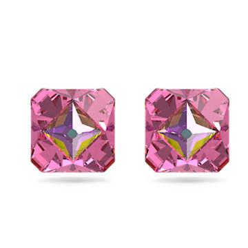 Chroma stud earrings, Pyramid cut crystals, Pink, Gold-tone plated - Swarovski, 5614062