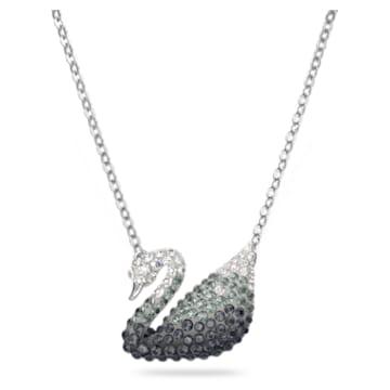 Iconic Swan pendant, Swan, Large, Black, Rhodium plated - Swarovski, 5614103