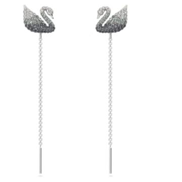 Iconic Swan 穿孔耳環, 天鵝, 黑色, 鍍白金色 - Swarovski, 5614117