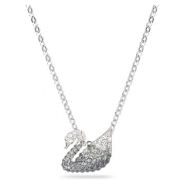 Iconic Swan 鏈墜, 天鵝, 細碼, 黑色, 鍍白金色 - Swarovski, 5614118