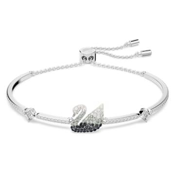 Iconic Swan bracelet, Swan, Black, Rhodium plated - Swarovski, 5614119
