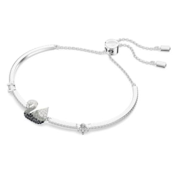 Iconic Swan 手链, 天鹅, 黑色, 镀铑 - Swarovski, 5614119