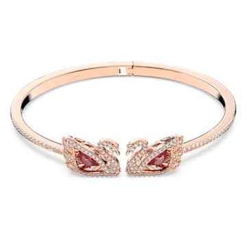 Dancing Swan bangle, Swan, Red, Rose-gold tone plated - Swarovski, 5614122