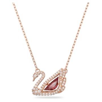 Dancing Swan pendant, Swan, Red, Rose-gold tone plated - Swarovski, 5614123
