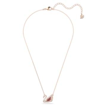 Dancing Swan necklace, Dark red, Rose-gold tone plated - Swarovski, 5614123
