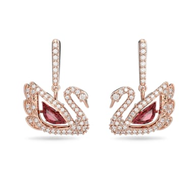 Dancing Swan earrings, Dark red, Rose-gold tone plated - Swarovski, 5614124