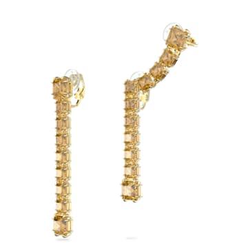 Millenia 穿孔耳环, 不对称, 正方形切割仿水晶, 黄色, 镀金色调 - Swarovski, 5614921
