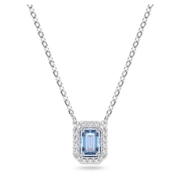 Millenia 项链, 八角形切割 Swarovski 皓石, 蓝色, 镀铑 - Swarovski, 5614926