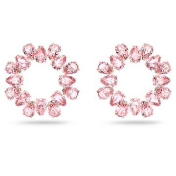 Millenia 大圈耳环, 梨形切割仿水晶, 粉红色, 镀玫瑰金色调 - Swarovski, 5614932