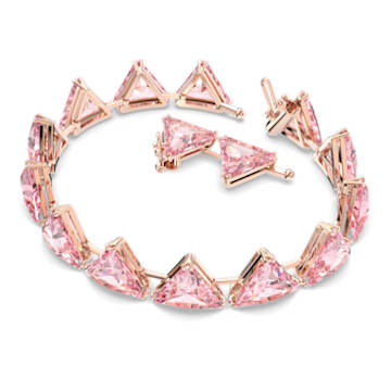 Millenia bracelet, Triangle cut crystals, Rose-gold tone plated - Swarovski, 5614934