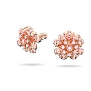 心相莲中国专属系列粉红色莲花造型耳钉 - Swarovski, 5615102