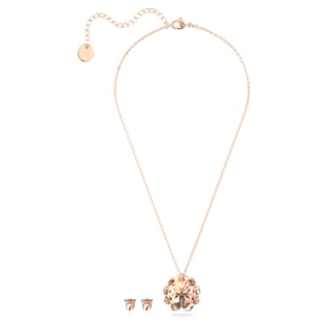 心相莲七夕情人节系列粉红色链坠和耳环套装- Swarovski, 5615360