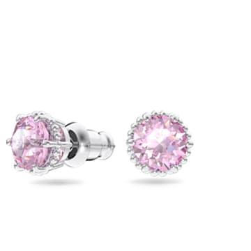Birthstone stud earrings, June, Pink, Rhodium plated - Swarovski, 5615514