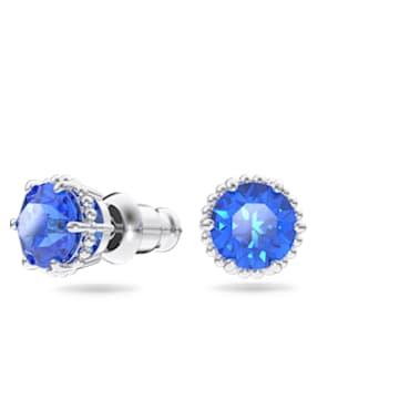 Birthstone stud earrings, September, Blue, Rhodium plated - Swarovski, 5615530
