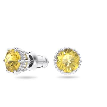 Birthstone stud earrings, November, Yellow, Rhodium plated - Swarovski, 5615531