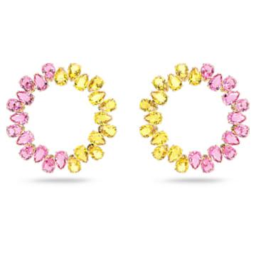 Millenia hoop earrings, Pear cut crystals, Multicolored, Gold-tone plated - Swarovski, 5615619