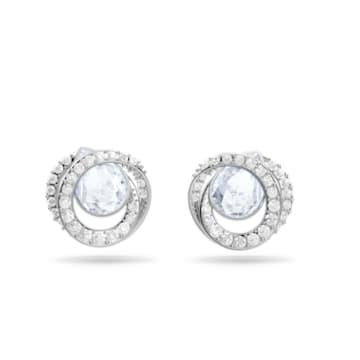 Generation 穿孔耳环, 蓝色, 镀铑 - Swarovski, 5616264